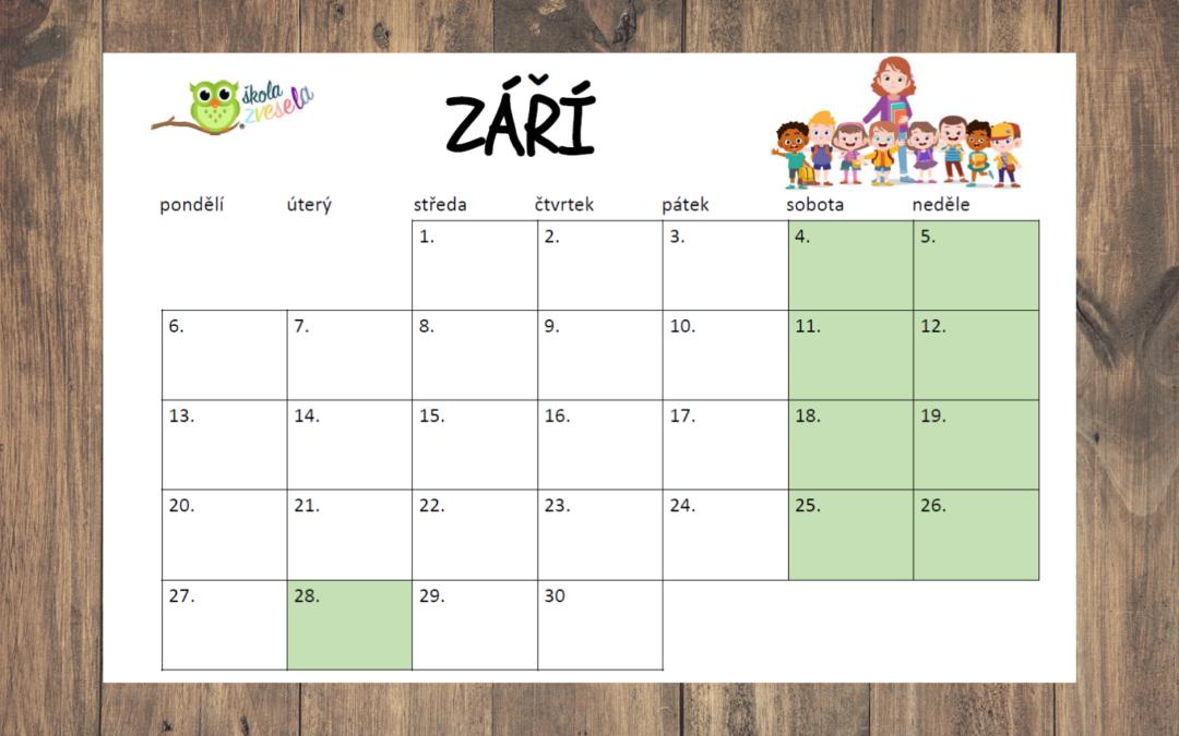 Školní kalendář k tisku